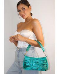 Missguided Emerald Satin Ruched Shoulder Bag - Green