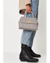 Missguided Quilted Top Handle Bag - Grey