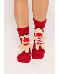 Missguided - Reindeer Gift Socks Red - Lyst