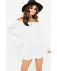 Missguided - White Bardot Gypsy Tie Detail Playsuit - Lyst