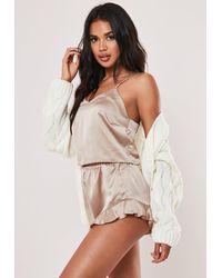 Missguided Mink Satin Cami Frill Short Pyjama Set - Multicolour