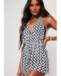 Missguided White Knitted Plunge Beach Cover Up Playsuit