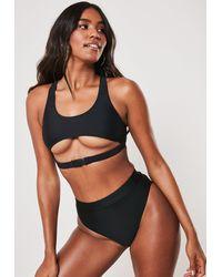 Missguided Black Buckle Strap Super Scoop Bikini Top