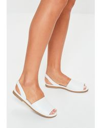 Missguided White Two Part Slingback Sandals