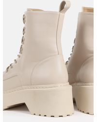 Missguided Lace Up Chunky Sole Ankle Boots - Natural