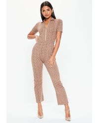 Missguided - Nude Printed Short Sleeve Zip Jumpsuit - Lyst