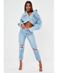 Missguided Highwaisted Roll Hem Rip Mom Jeans - Blue