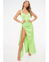 Missguided Satin Bust Cup Draped Gown - Green