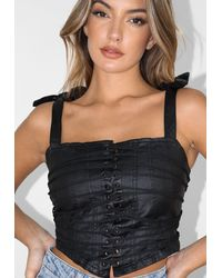 Missguided Black Coated Lace Up Denim Corset Top