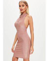 Missguided - Nude High Neck Cowl Bodycon Dress - Lyst