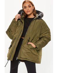 Missguided - Khaki Contrast Faux Fur Trim Utility Parka Jacket - Lyst