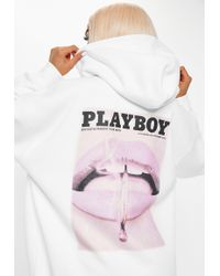 Missguided Playboy X White Magazine Print Oversized Hoodie Dress