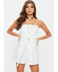 Missguided - White Paperbag Waist Bandeau Playsuit - Lyst