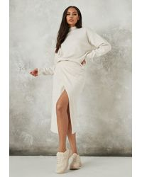 Missguided Recycled Cream Co Ord Split Front Knit Skirt - Natural