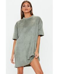 Missguided - Khaki Oversized Faux Suede T Shirt Dress - Lyst