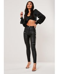 Missguided Petite Black High Waisted Coated Zip Pocket Jeans