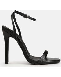 Missguided Barely There Square Toe High Heels - Black