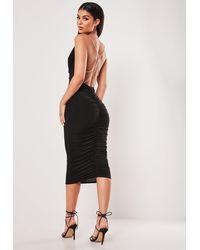 Missguided Black Slinky Chain Detail Cowl Midi Dress