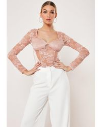 Missguided Nude Cupped Lace Satin Insert Bodysuit - Natural