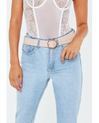 Missguided - Nude Pu Circle Buckle Belt - Lyst
