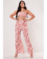 Missguided Plus Size Red Porcelain Print Bandeau Top And Wide Leg Trousers Co Ord Set