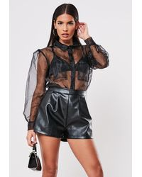 Missguided Black Faux Leather Shorts