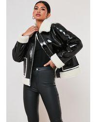 Missguided Tall Black Vinyl Faux Fur Aviator Jacket