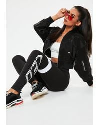 Missguided - Black Ceo Slogan High Waisted Slim Joggers - Lyst