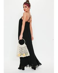 Missguided Black Strappy Pleated Maxi Dress