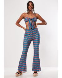 Missguided Blue Multi Chevron Crochet Flare Co Ord Trousers