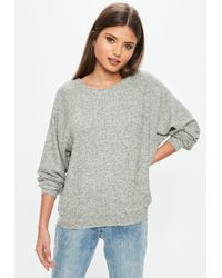 Missguided - Gray Brushed Crew Neck Sweatshirt - Lyst