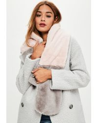 Missguided - Pink & Grey Contrast Faux Fur Scarf - Lyst