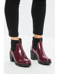 Missguided - Burgundy High Shine Chunky Chelsea Boots - Lyst