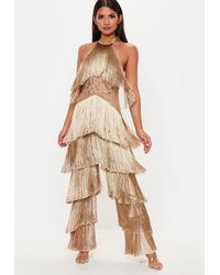 Missguided - Camel Fringe Lace Jumpsuit - Lyst