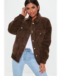Missguided - Brown Oversized Borg Trucker Teddy Jacket - Lyst