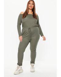 Missguided - Plus Size Khaki Ribbed Bardot Jumpsuit - Lyst