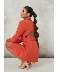 Missguided Belted Open Back Blazer Dress - Orange