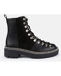 Missguided Chunky Suede Panel Lace Up Boots - Black