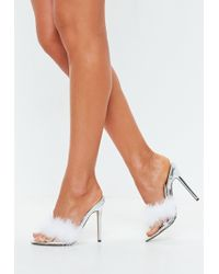 da8a688d5cd0 Lyst - Missguided Feather Ankle Strap Barely There Nude in Natural