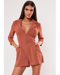 Missguided Mocha Belted Blazer Wrap Playsuit - Red