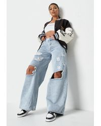Missguided Light Blue Low Rise Baggy Boyfriend Jeans