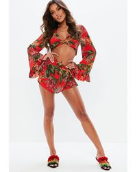 Missguided Red Tropical Wrap Over Skort