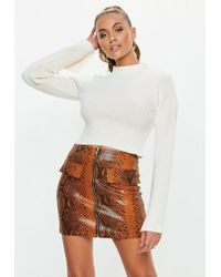 Missguided - White Ribbed Fitted Flare Sleeve Cropped Jumper - Lyst