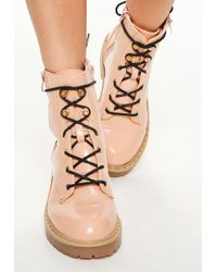 Missguided - Pink Cleated Sole Pin Studded Ankle Boots - Lyst
