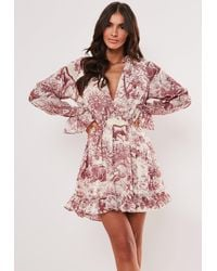 Missguided Red China Print Frill Plunge Smock Dress