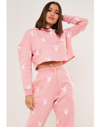 Missguided X Pink Bunny Repeat Print Cropped Hoodie