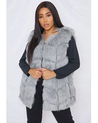 Missguided Plus Size Grey Faux Fur Bubble Tank Top