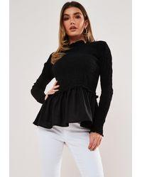Missguided Shirred Body Peplum Top - Black