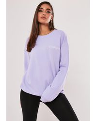Missguided Lilac Keep Dreaming Slogan Sweatshirt - Purple