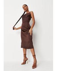 Missguided Petite Chocolate Satin Cowl Neck Midi Slip Dress - Brown